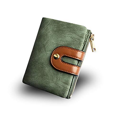 Women's Rfid Small Bifold Leather Wallet Ladies Mini Zipper Coin Purse id card Pocket,Slim Compact Thin (Green)