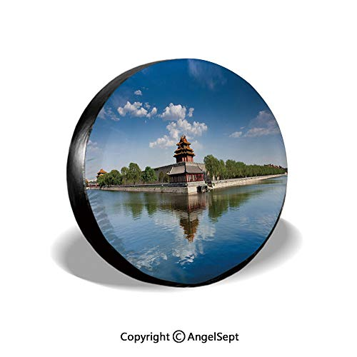 (Spare Tire Cover,Historical Architecture Imperial Palace Trees Sea Blue Sky Decorative,Blue Green Brown,for Jeep Trailer SUV RV and Many Vehicles,17 Inch)