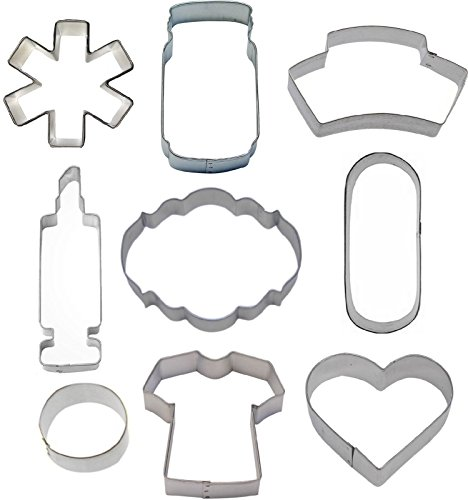 9 Piece Nurse Nursing Cookie Cutter Set Medical Doctor Get Well Baking Plaques