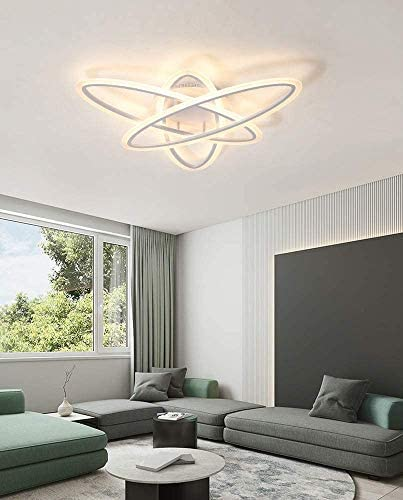 3 Ring LED Modern Ceiling Light Remote Control Dimmable Living Room Bedroom Kitchen Ceiling Lamp White Acrylic Ceiling Lights Lamp Art Decoration Ceiling Lighting