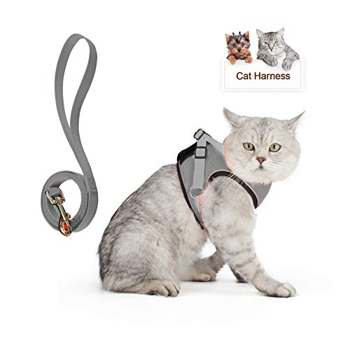 Cat Harness Escape Proof Adjustable Vest Harnesses with Reflective Strap Soft Mesh Back Metal Clip No Pull No Choke Training Walk for Small Pet (L, Grey)