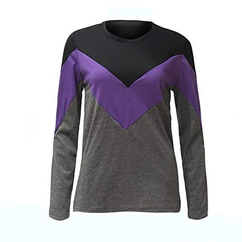 kaifongfu Womens Long Sleeve Tops O-Neck Autumn Clearance Blouse T-Shirt (PurpleXXL)