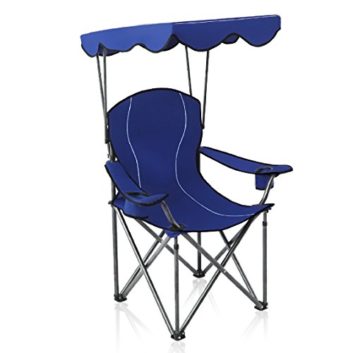 (ALPHA CAMP Camp Chairs with Shade Canopy Chair Folding Camping Recliner Support 350 LBS - Navy Blue)