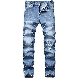 FREDD MARSHALL Men's Slim Fit Jeans Fashion Stretch Straight-Leg Ripped Basic Denim Pants 5301