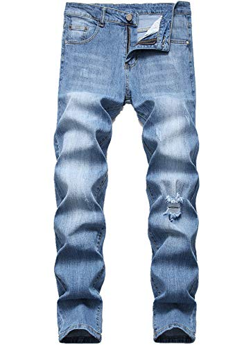 Basic Straight Leg Jeans - FREDD MARSHALL Men's Slim Fit Jeans Fashion Stretch Straight-Leg Ripped Basic Denim Pants 5301