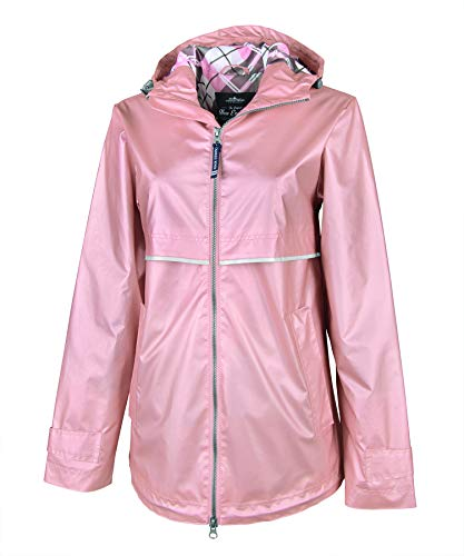 England Pink Rose - Charles River Apparel Women's New Englander Waterproof Rain Jacket, Rose Gold/Plaid, M