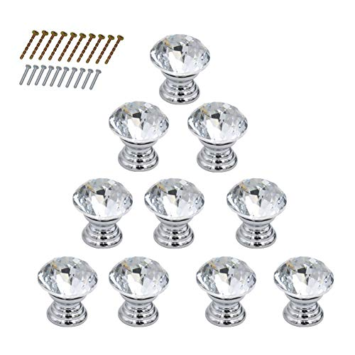 10 Pcs 20MM Crystal Glass Cabinet Cupboard Drawer Pull Handle Jewelry Box Gift Case Knobs Pull Handle,2 Size Screws