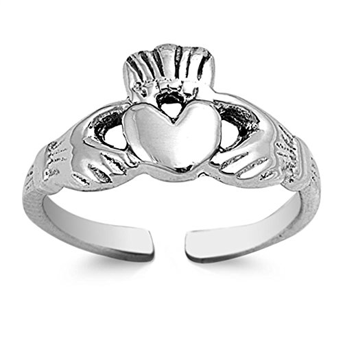 (Claddagh Toe Ring Sterling Silver 925 Beach Adjustable Jewelry)