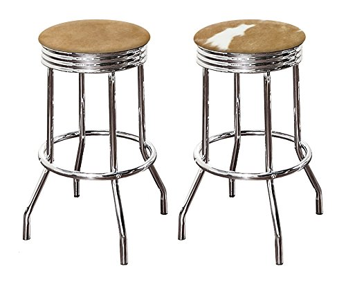 - New Authentic Cowhide Rawhide Leather Cowboy Barstools Brown and White Hair on Hide 24