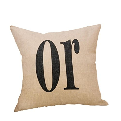 GBSELL Pillow Cover Letter Throw Pillow Case Cafe Home Party Christmas Halloween Decor Cushion (L) -