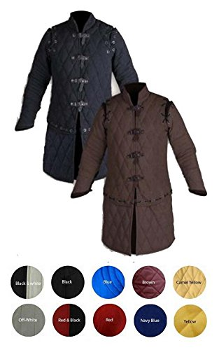- Medieval Thick Padded Full Sleeves Gambeson Coat Aketon Jacket Armor, Black Cotton Fabric - X-Large