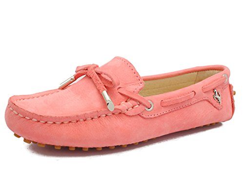 Minitoo Girls Ladies Nubuck Leather Slip-On Casual Boat Shoes Ballet Flats Loafers Moccasins Pink b2V4nIsux