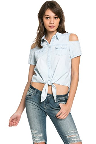 9f8fc5e9566833 My Yuccie Junior s Casual Crochet Lace Denim Tie Waist Crop Tops 80027 Large