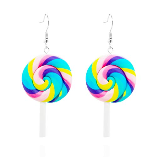 (Eightgo Rainbow Color Spiral Lollipop Candy Circle Round Button Stud Post Earrings (#02))
