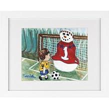 Snowman Soccer - Snowmen Winter Art Print