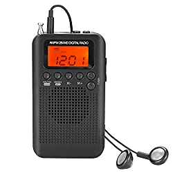 AM FM Pocket Radio with Earphones Mini Portable Alarm Clock Radio Digital Tuning AM/FM Stereo Personal Receiver Battery Operated for Walking/Running-Black