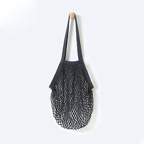Woven Net (Portable shopping bags, LandFox Reusable Fruit String Grocery Shopper Cotton Tote Mesh Woven Net Shoulder Bag (Black))