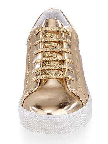Metallic Alba Moda Kunstleder Goldfarben aus Schnürer a006wnUr