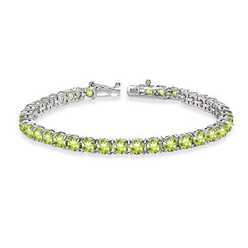 Sterling Silver 4mm Peridot Round-cut Tennis Bracelet by GemStar USA