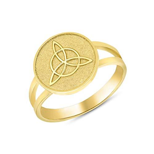 14k Yellow Gold Split Shank Band Irish Infinity Circle Celtic Trinity Knot Disc Ring (Size 6) ()