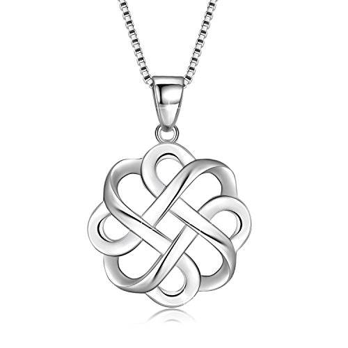JUFU 925 Sterling Silver Good Luck Polished Celtic Knot Cross Pendant Necklace For Womens (Silver) (Celtic knot A)
