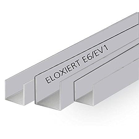 Aluminium U Profil Eloxiert Aluprofil Alu U-Profil Stange Schiene 20x20x20x2 mm 2000mm