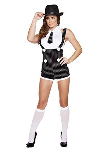 Roma Costume Women's 2 Piece Seductive Mobster Mama, Black/White, -
