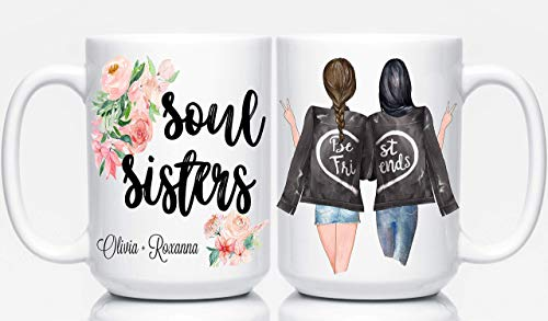 Custom Best Friend Mug, Personalized Gift for Best Friend, BFF Coffee Mugs, Soul Sisters, Besties
