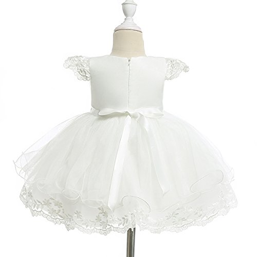 Moon Kitty Baby Girls Embroidery Flower Dress Lace Christening Baptism Gown for