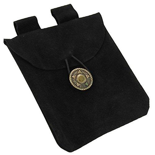 Medieval Renaissance Leather Black Suede Pouch ()