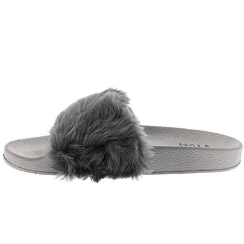 Toe Fluffy Sassy Chic Sandals Viva Single Fashion Open Strap Gray Womens EVA Flat Summer qax6nRC