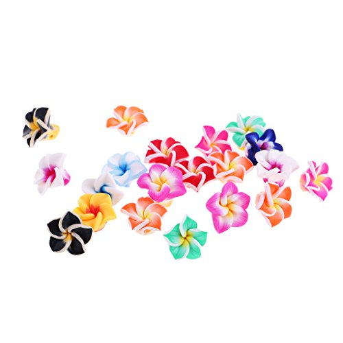 MonkeyJack 20 Pieces Mixed Color Assorted Hawaiian Loose Plumeria Polymer Clay Flower Beads for Jewelry Makings - 15mm, 15mm Clay Flower Spacer