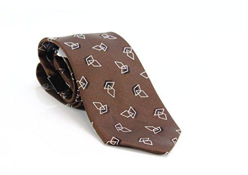 Sean John Diamond Geometric Men's Neck Tie Silk Accessory Brown Not Applicable