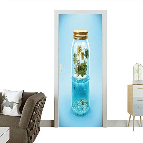 Jar Parakeet - Homesonne Door Sticker Wallpaper Tropical Island and Underwater World in The Jar Traveling,Vacation Fashion and Various Pattern W31 x H79 INCH