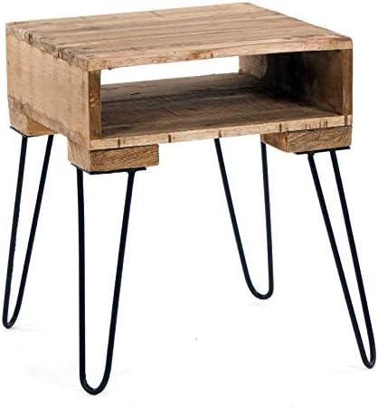 Leuk Massieve ZIJTAFEL Carlo   50x40x40 cm (HxBxD), afvalhout   rustieke salontafel met opbergruimte, veelzijdig inzetbaar nachtkastje, plantentafel  7Nz0eB0
