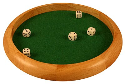 DA VINCI Wooden 11.5 Inch Dice Tray with 5 Dice