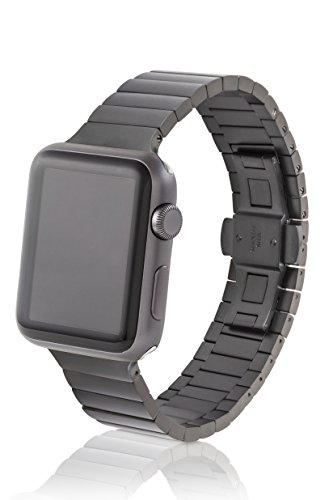38mm JUUK Revo Premium Apple Watch band, made with Swiss quality using only the highest grade solid 316L stainless steel with a matte gunmetal finish and solid steel butterfly deployant buckle by JUUK