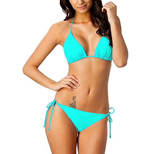 Women's Two Piece Swimsuits Triangle Tie Side Bikini Sets Halter Athletic Swimwear Top with Bottom Hawaii Christmas