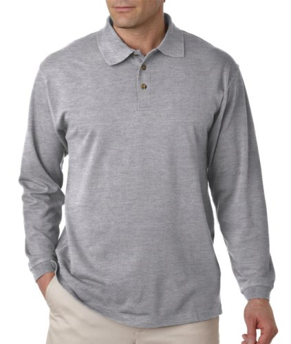 UltraClub Adult Long-Sleeve Classic Pique Polo - Heather Grey - - Polo Pique Adult Classic