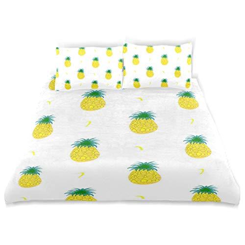 - Fruity Pineapple Bedding 3 Piece Set Full Set 66 × 90 in Bed Quilt Cover, 2 Pillowcase Soft Microfiber Duvet Cover Set for Kids Girls Boys Twin (66
