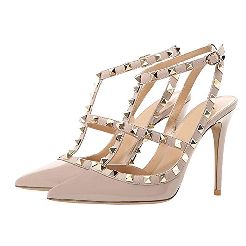 Pointy s Sandals Studded Mermaid High Toe Shoes Heel Sling Back Women Nude C1RwqptZ