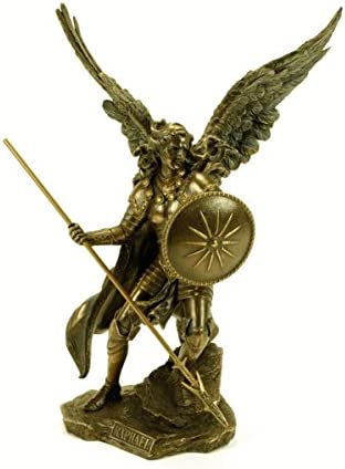 23 x 14 x 33 cm. Figura Decorativa Mitol/ógica Arc/ángel San Rafael Esculturas Resina