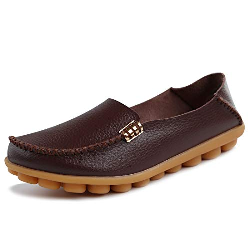 Tenjoy Women's Comfort Leather Loafers Casual Moccasins Driving Flats Shoes