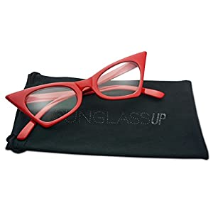 1950's Retro Vintage High Pointed Colorful Clear Lens Geometric Cat Eye Glasses Non-Prescription (Cherry Red, Clear)