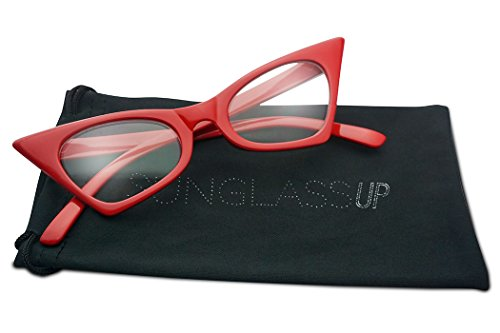 1950's Retro Vintage High Pointed Colorful Clear Lens Geometric Cat Eye Glasses Non-Prescription (Cherry Red, - Frames Cat Eyeglasses