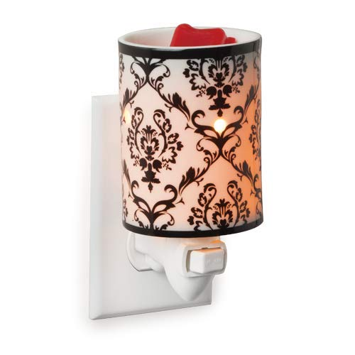 CANDLE WARMERS ETC Pluggable Fragrance Warmer- Decorative Plug-in for Warming Scented Candle Wax Melts and Tarts or Essential Oils, Damask Porcelain