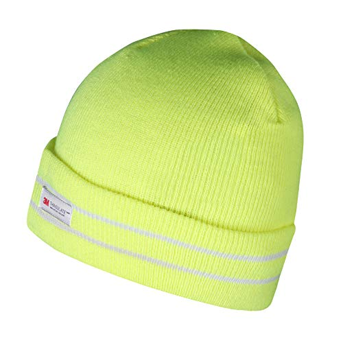 Evridwear Winter 3M Thinsulate Thermal Hat,Fleece Lined Beanie for Running, Skiing, Camping for Men and Women (Hivis Lime)