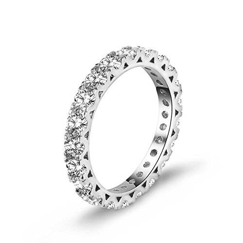 Diamonbella Realistic Simulated Diamond Hearts & Arrows Stackable Eternity Band Ring 3MM Width Solid 925 Silver R3MMB70 ()
