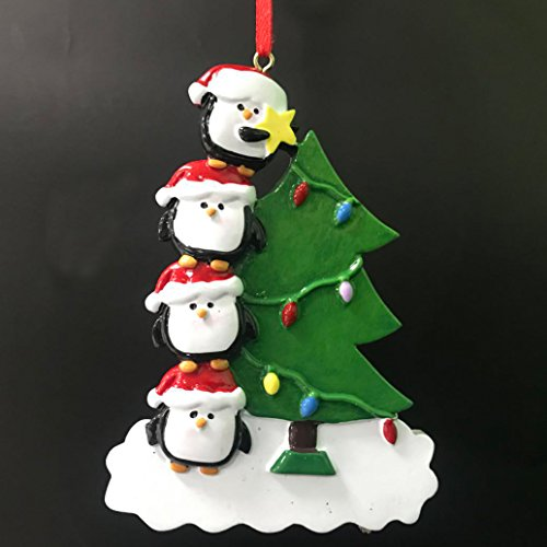 as Tree Family Personalize Christmas Ornament,Free Pen with Gifts Box Provided, Made of Resin (Family 4) (Penguin Christmas Tree Ornament)