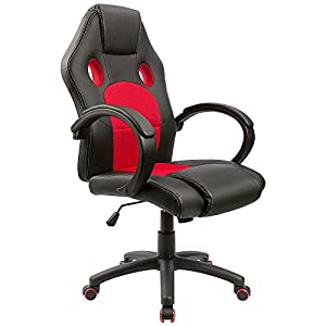 Homall Gaming Chair Executive Swivel Office Chair Leather Desk Chair Racing  Style High Back Gaming Chair Padded Armrests Task Chair Mesh Bucket Seat  And ...